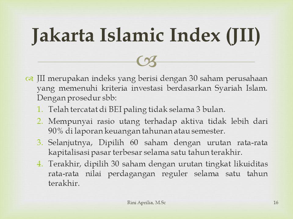   JII merupakan indeks yang berisi dengan 30 saham perusahaan yang memenuhi kriteria investasi berdasarkan Syariah Islam.