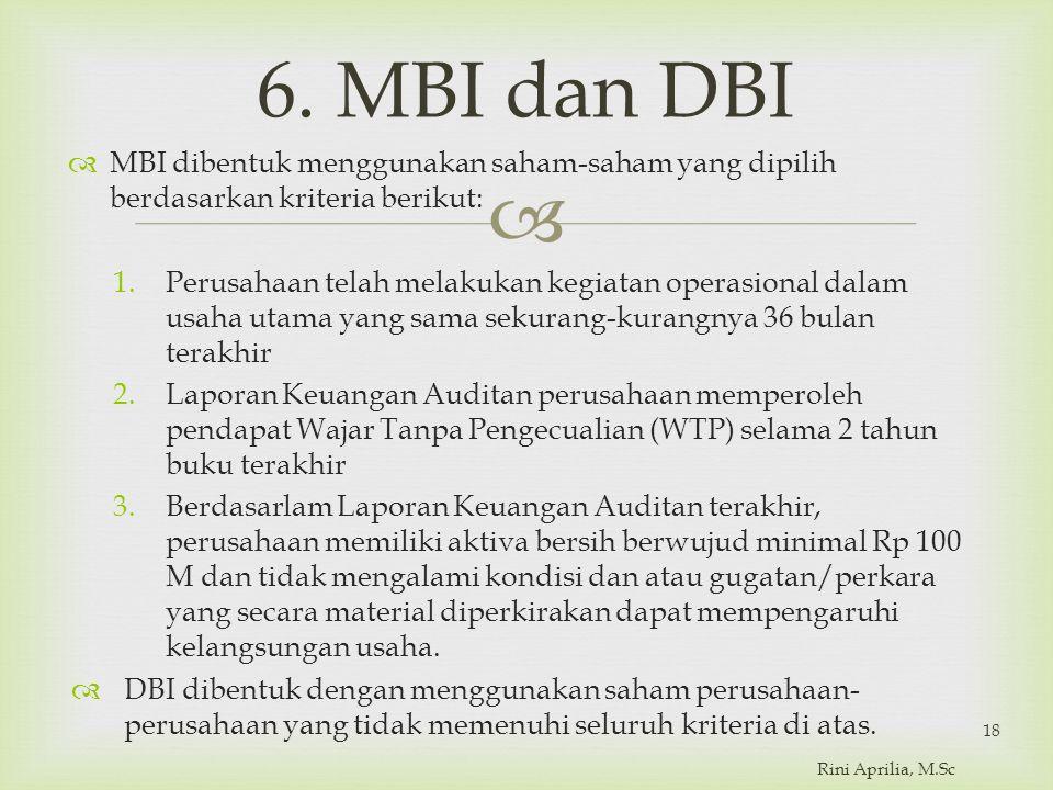  6. MBI dan DBI  MBI dibentuk menggunakan saham-saham yang dipilih berdasarkan kriteria berikut: 1.Perusahaan telah melakukan kegiatan operasional d