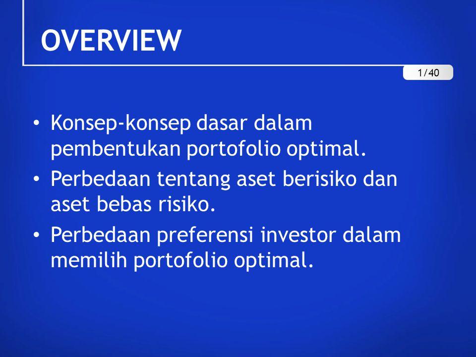 OVERVIEW Konsep-konsep dasar dalam pembentukan portofolio optimal. Perbedaan tentang aset berisiko dan aset bebas risiko. Perbedaan preferensi investo