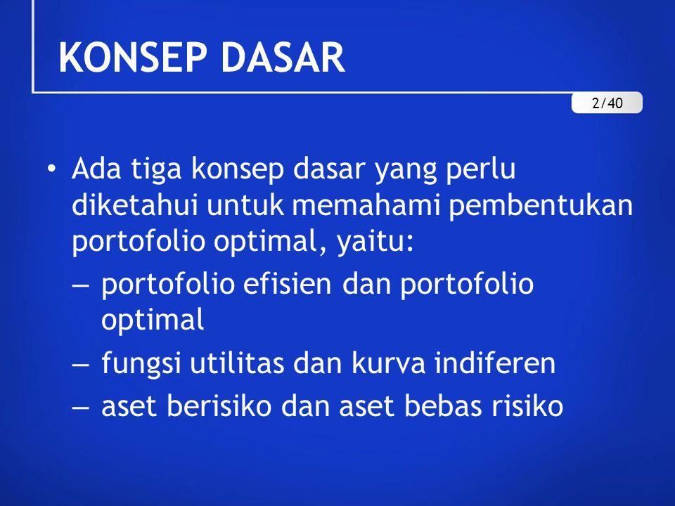 Ada tiga konsep dasar yang perlu diketahui untuk memahami pembentukan portofolio optimal, yaitu: – portofolio efisien dan portofolio optimal – fungsi