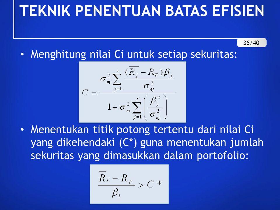 Menghitung nilai Ci untuk setiap sekuritas: Menentukan titik potong tertentu dari nilai Ci yang dikehendaki (C*) guna menentukan jumlah sekuritas yang