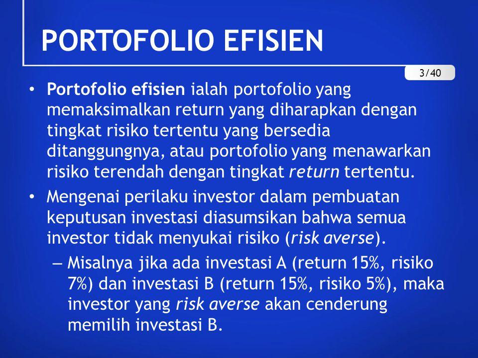 PORTOFOLIO EFISIEN Portofolio efisien ialah portofolio yang memaksimalkan return yang diharapkan dengan tingkat risiko tertentu yang bersedia ditanggu