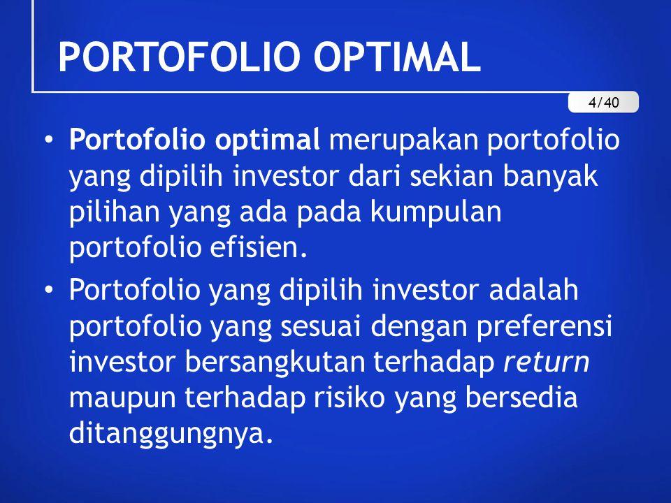 PORTOFOLIO OPTIMAL Portofolio optimal merupakan portofolio yang dipilih investor dari sekian banyak pilihan yang ada pada kumpulan portofolio efisien.