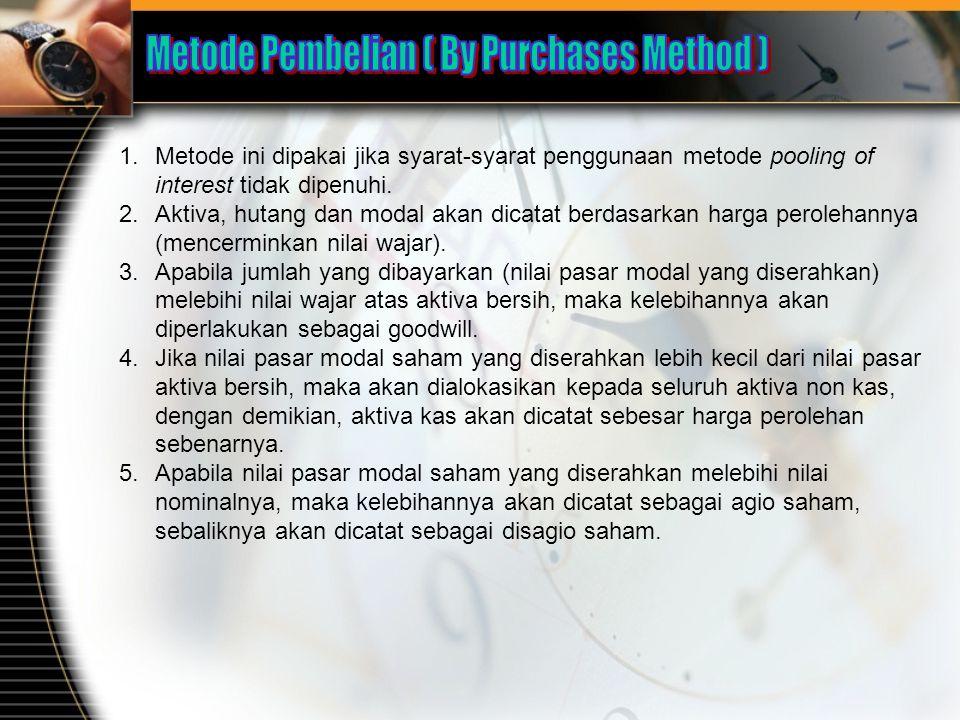 1.Metode ini dipakai jika syarat-syarat penggunaan metode pooling of interest tidak dipenuhi. 2.Aktiva, hutang dan modal akan dicatat berdasarkan harg