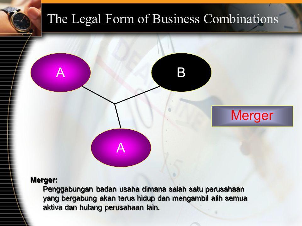 The Legal Form of Business Combinations A B A Merger Merger: Penggabungan badan usaha dimana salah satu perusahaan yang bergabung akan terus hidup dan mengambil alih semua aktiva dan hutang perusahaan lain.