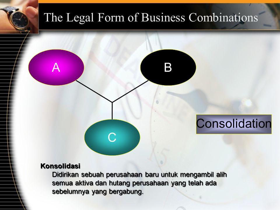 AB C Consolidation Konsolidasi Didirikan sebuah perusahaan baru untuk mengambil alih semua aktiva dan hutang perusahaan yang telah ada sebelumnya yang bergabung.