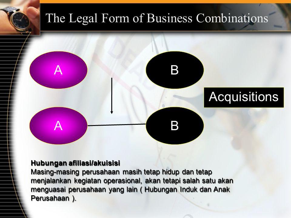 AB Hubungan afiliasi/akuisisi Masing-masing perusahaan masih tetap hidup dan tetap menjalankan kegiatan operasional, akan tetapi salah satu akan menguasai perusahaan yang lain ( Hubungan Induk dan Anak Perusahaan ).