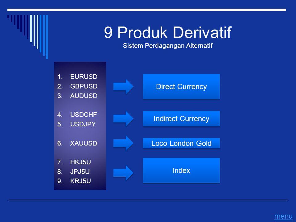 9 Produk Derivatif Sistem Perdagangan Alternatif 1. EURUSD 2. GBPUSD 3. AUDUSD 4. USDCHF 5. USDJPY 6. XAUUSD 7. HKJ5U 8. JPJ5U 9. KRJ5U Direct Currenc