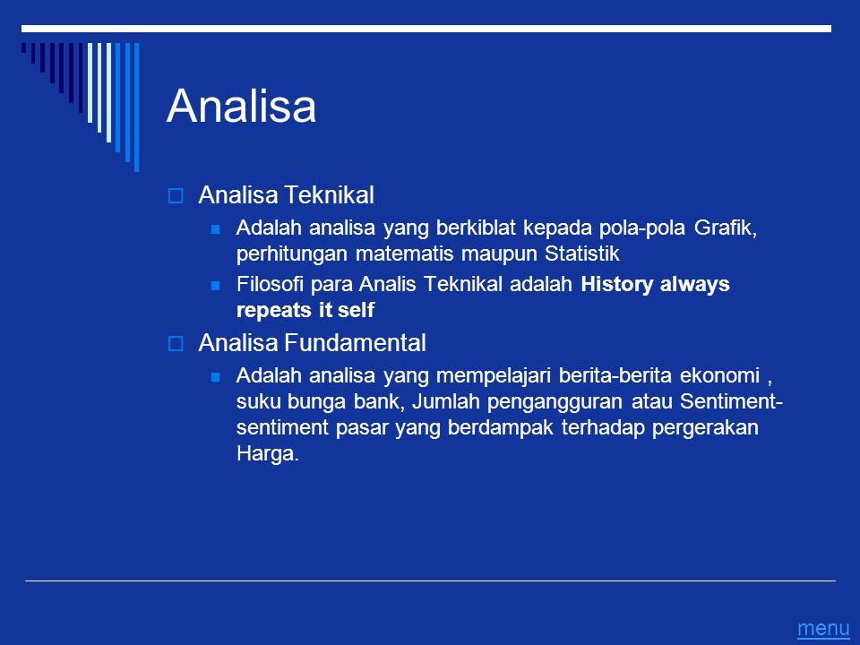 Analisa  Analisa Teknikal Adalah analisa yang berkiblat kepada pola-pola Grafik, perhitungan matematis maupun Statistik Filosofi para Analis Teknikal