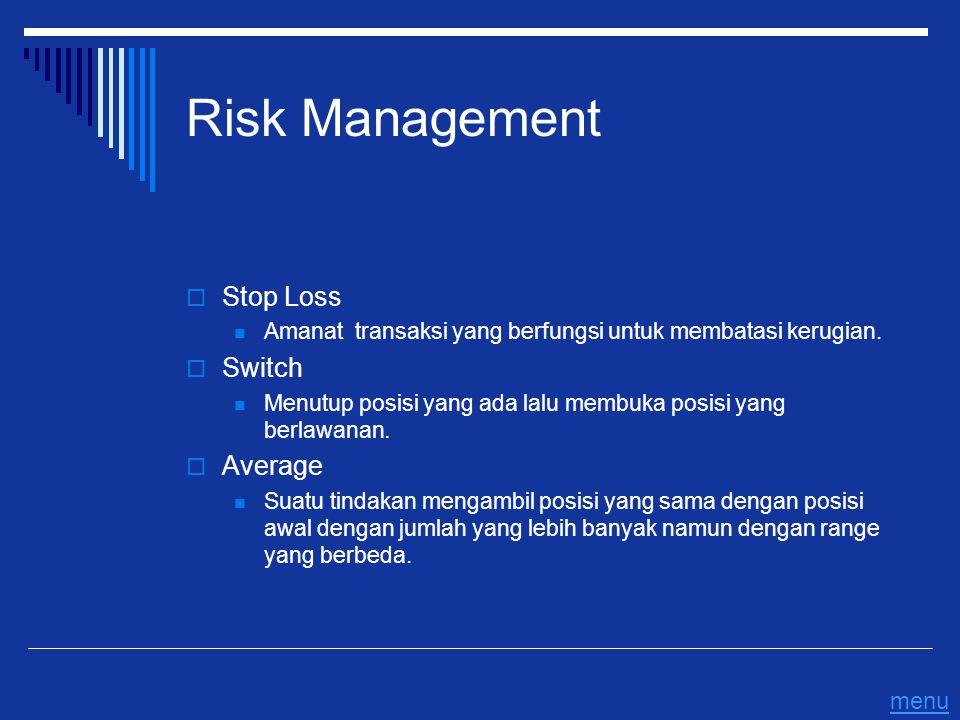 Risk Management  Stop Loss Amanat transaksi yang berfungsi untuk membatasi kerugian.  Switch Menutup posisi yang ada lalu membuka posisi yang berlaw