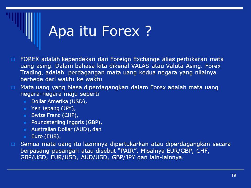 Apa itu Forex ?  FOREX adalah kependekan dari Foreign Exchange alias pertukaran mata uang asing. Dalam bahasa kita dikenal VALAS atau Valuta Asing. F