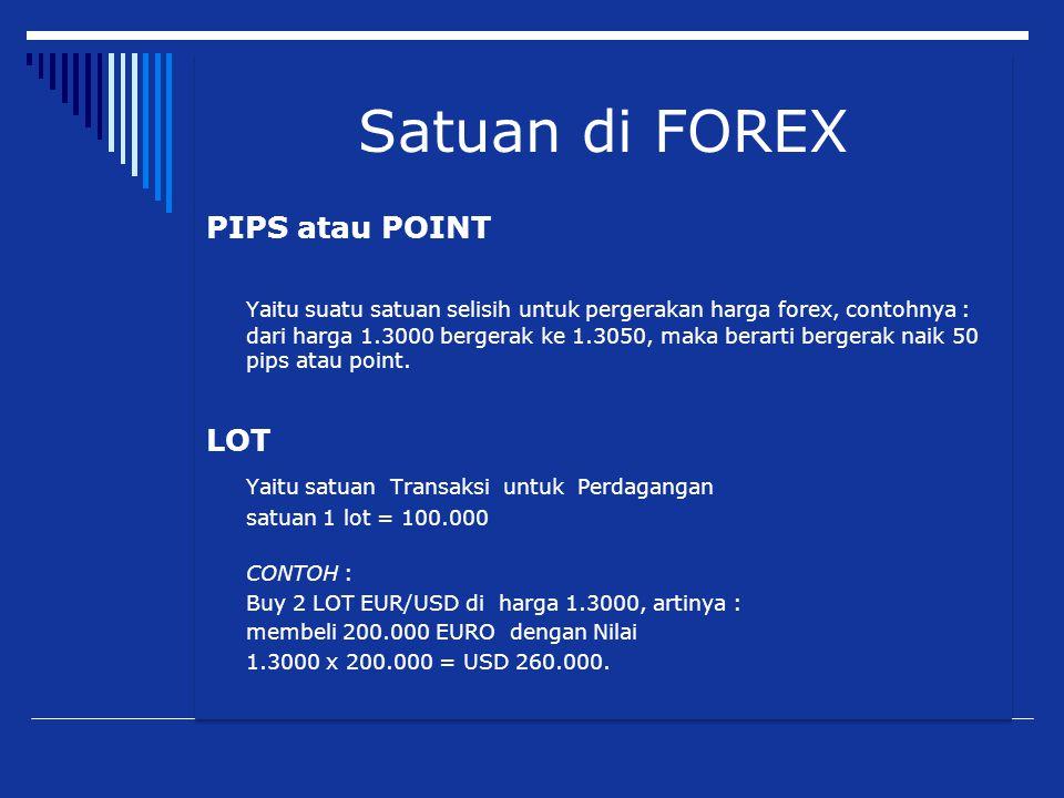 Satuan di FOREX PIPS atau POINT Yaitu suatu satuan selisih untuk pergerakan harga forex, contohnya : dari harga 1.3000 bergerak ke 1.3050, maka berart