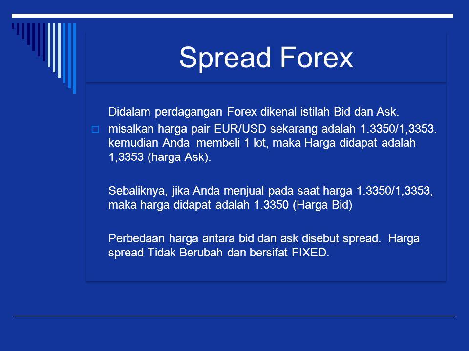 Didalam perdagangan Forex dikenal istilah Bid dan Ask.  misalkan harga pair EUR/USD sekarang adalah 1.3350/1,3353. kemudian Anda membeli 1 lot, maka