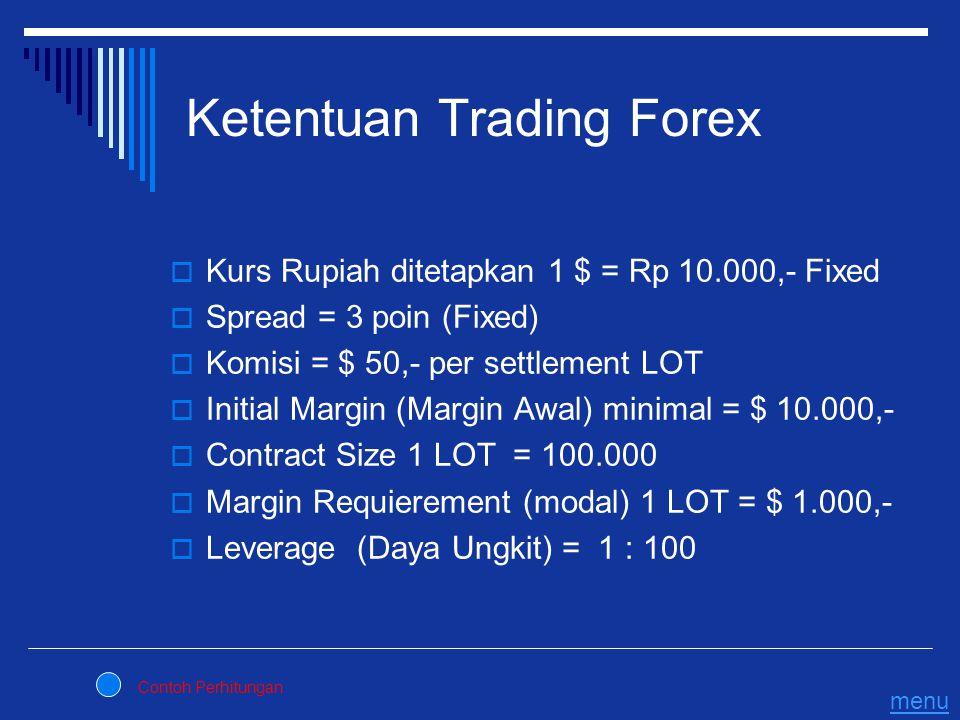 Ketentuan Trading Forex  Kurs Rupiah ditetapkan 1 $ = Rp 10.000,- Fixed  Spread = 3 poin (Fixed)  Komisi = $ 50,- per settlement LOT  Initial Marg