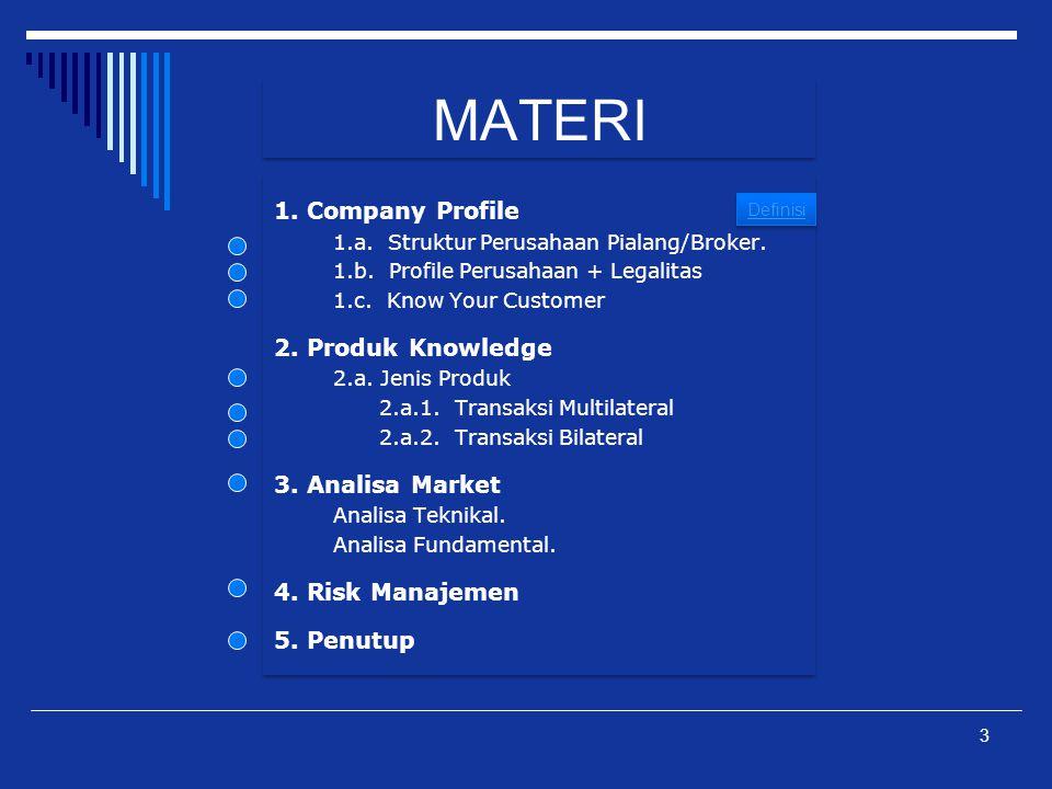 MATERI 1. Company Profile 1.a. Struktur Perusahaan Pialang/Broker. 1.b. Profile Perusahaan + Legalitas 1.c. Know Your Customer 2. Produk Knowledge 2.a