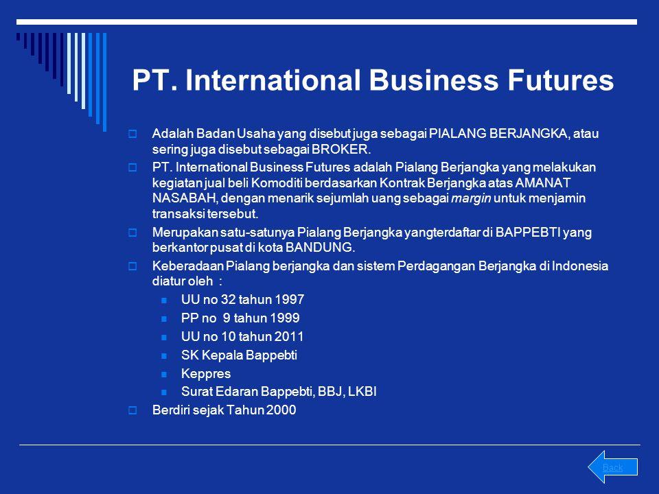 PT. International Business Futures  Adalah Badan Usaha yang disebut juga sebagai PIALANG BERJANGKA, atau sering juga disebut sebagai BROKER.  PT. In