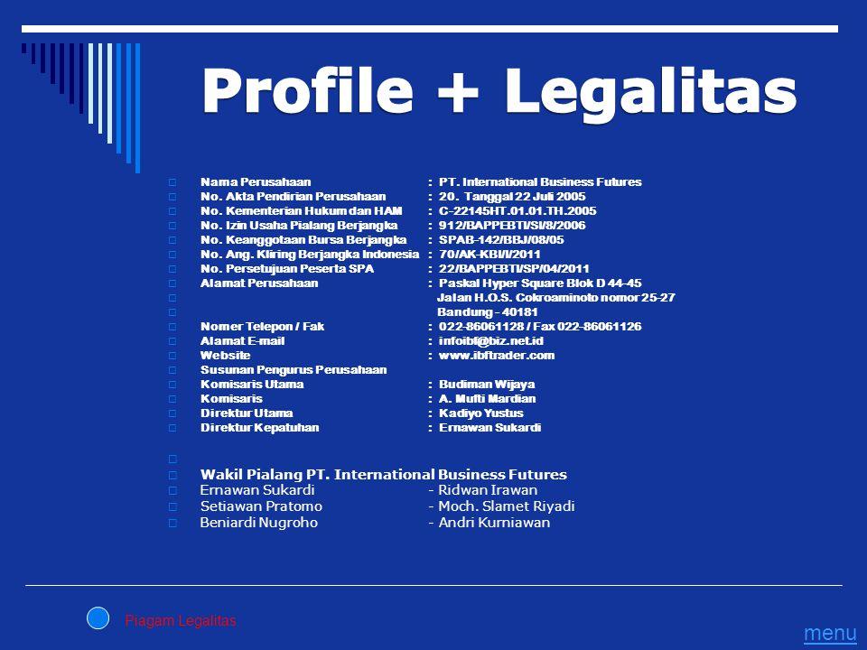  Nama Perusahaan: PT. International Business Futures  No. Akta Pendirian Perusahaan : 20. Tanggal 22 Juli 2005  No. Kementerian Hukum dan HAM: C-22