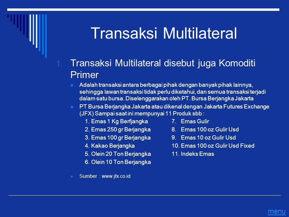 Transaksi Multilateral 1. Transaksi Multilateral disebut juga Komoditi Primer Adalah transaksi antara berbagai pihak dengan banyak pihak lainnya, sehi