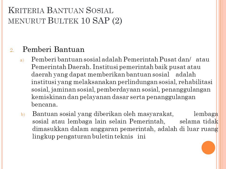 K RITERIA B ANTUAN S OSIAL MENURUT B ULTEK 10 SAP (3) 3.