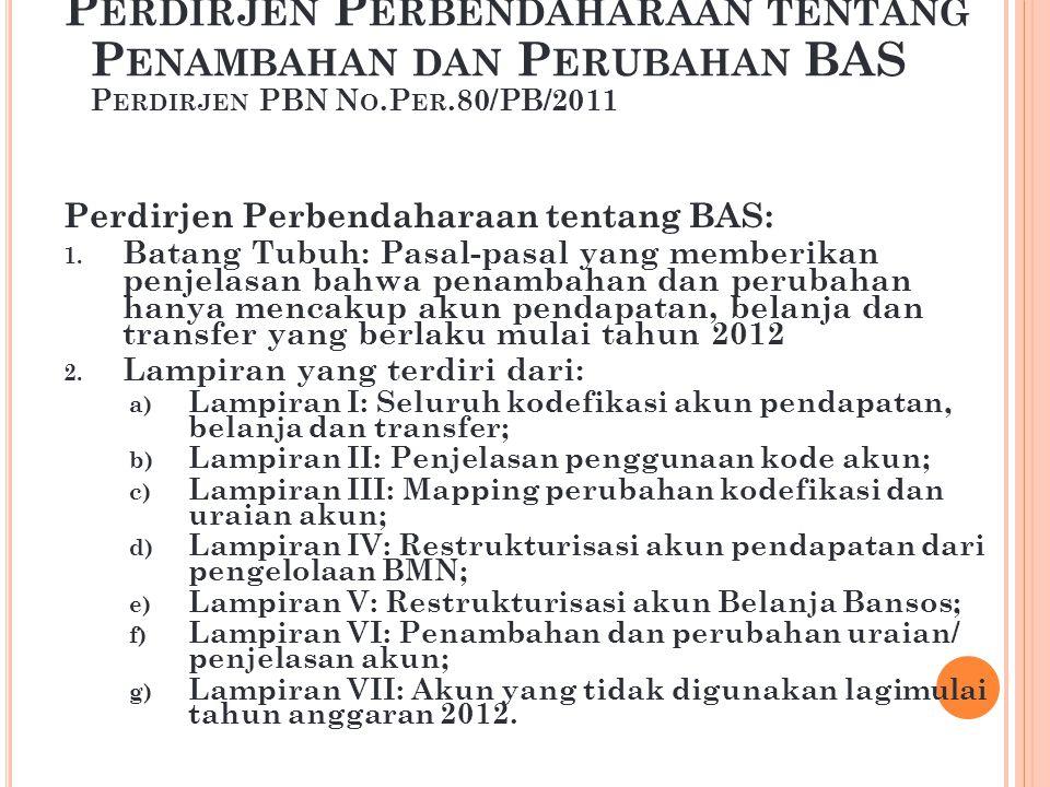 L ATAR B ELAKANG Terdapat akun-akun pada PMK 91/PMK.05/2007 tentang Bagan Akun Standar dan Per-08/PB/2009 tentang Perubahan BAS, yang tidak digunakan lagi/tidak sesuai/berubah.