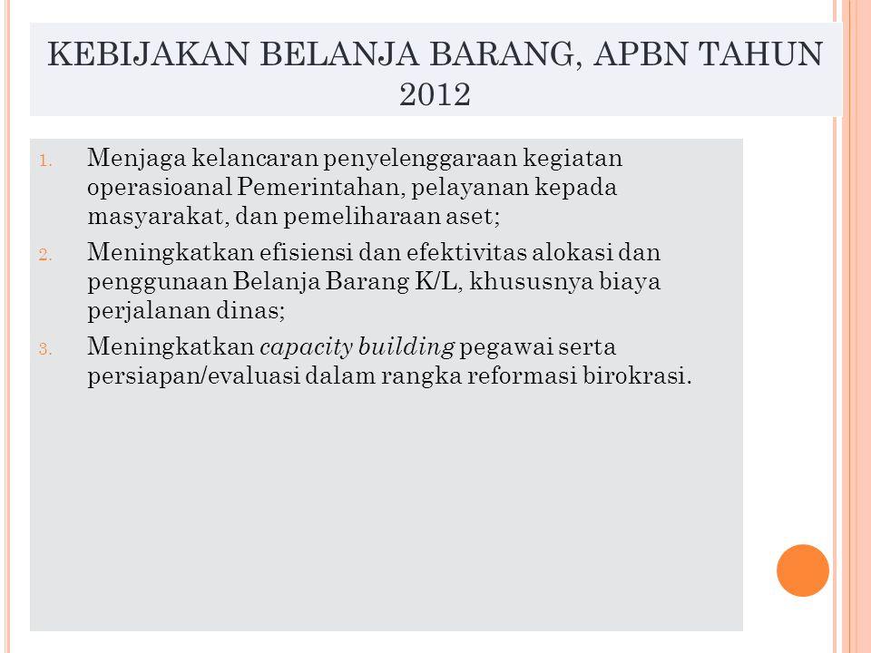 KEBIJAKAN BELANJA MODAL, APBN TAHUN 2012 Meningkatkan anggaran belanja modal dalam rangka: 1.