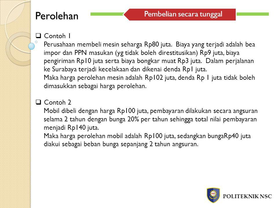 Perolehan POLITEKNIK NSC  Contoh 1 Perusahaan membeli mesin seharga Rp80 juta. Biaya yang terjadi adalah bea impor dan PPN masukan (yg tidak boleh di