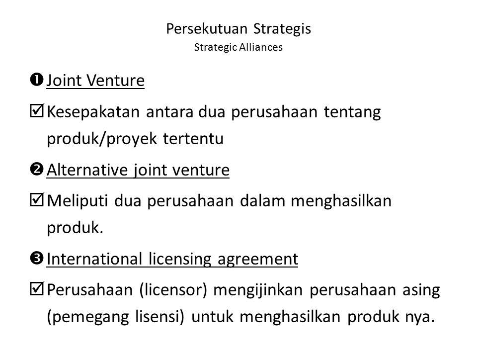 Persekutuan Strategis Strategic Alliances  Joint Venture  Kesepakatan antara dua perusahaan tentang produk/proyek tertentu  Alternative joint ventu