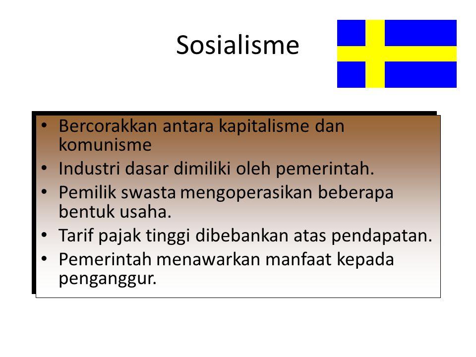 Sosialisme Bercorakkan antara kapitalisme dan komunisme Industri dasar dimiliki oleh pemerintah. Pemilik swasta mengoperasikan beberapa bentuk usaha.