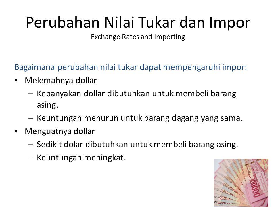 Perubahan Nilai Tukar dan Impor Exchange Rates and Importing Bagaimana perubahan nilai tukar dapat mempengaruhi impor: Melemahnya dollar – Kebanyakan