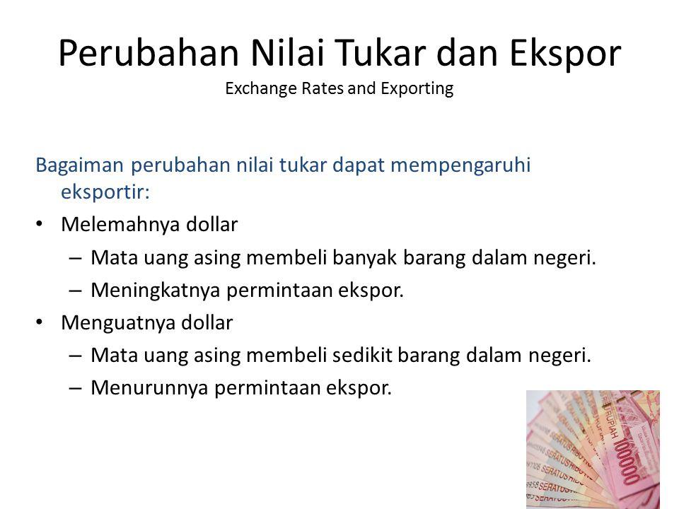 Perubahan Nilai Tukar dan Ekspor Exchange Rates and Exporting Bagaiman perubahan nilai tukar dapat mempengaruhi eksportir: Melemahnya dollar – Mata ua