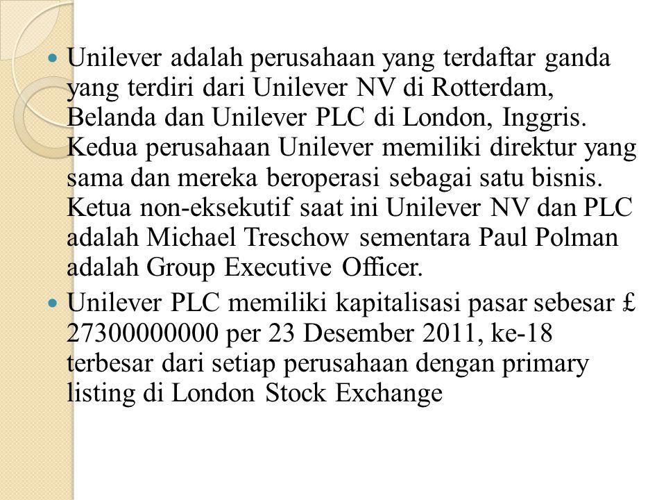 Unilever adalah perusahaan yang terdaftar ganda yang terdiri dari Unilever NV di Rotterdam, Belanda dan Unilever PLC di London, Inggris. Kedua perusah