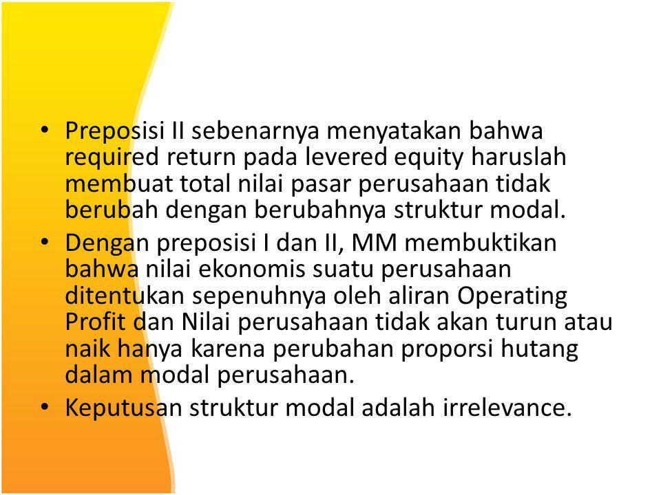 Preposisi II sebenarnya menyatakan bahwa required return pada levered equity haruslah membuat total nilai pasar perusahaan tidak berubah dengan beruba