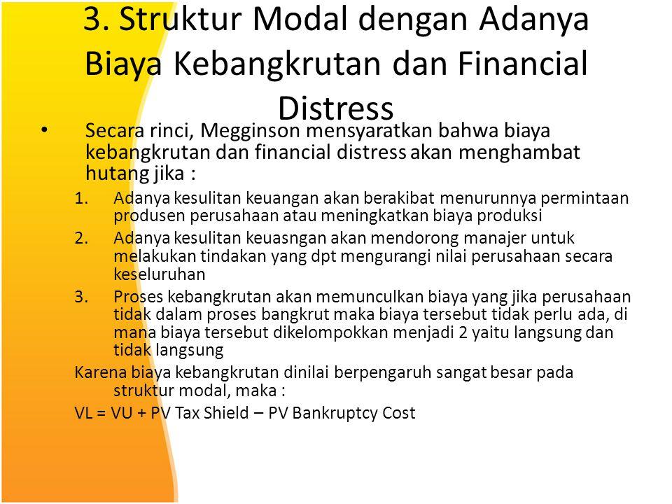 3. Struktur Modal dengan Adanya Biaya Kebangkrutan dan Financial Distress Secara rinci, Megginson mensyaratkan bahwa biaya kebangkrutan dan financial