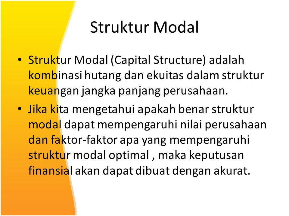 Struktur Modal Struktur Modal (Capital Structure) adalah kombinasi hutang dan ekuitas dalam struktur keuangan jangka panjang perusahaan. Jika kita men