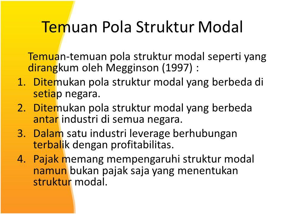 Temuan Pola Struktur Modal Temuan-temuan pola struktur modal seperti yang dirangkum oleh Megginson (1997) : 1.Ditemukan pola struktur modal yang berbe