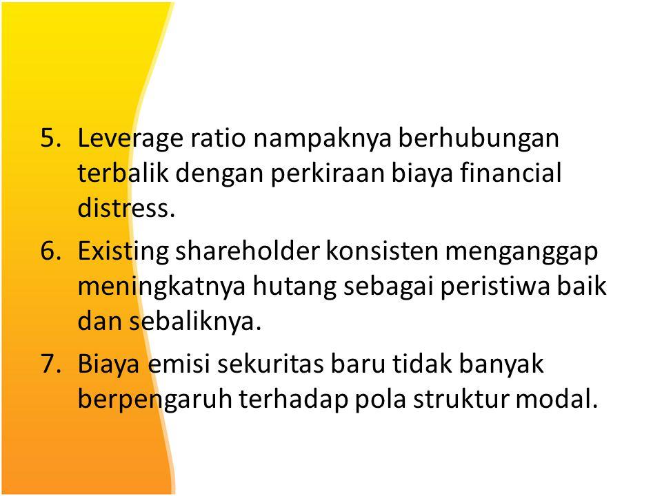5.Leverage ratio nampaknya berhubungan terbalik dengan perkiraan biaya financial distress. 6.Existing shareholder konsisten menganggap meningkatnya hu