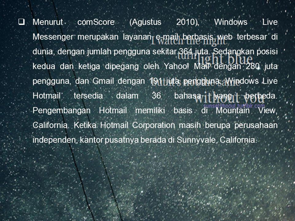  Nama asli dan kapitalisasi layanan e-mail gratis satu ini, yaitu HoTMaiL, berasal dari kata HTML (HyperText Markup Language), bahasa pengkodean yang