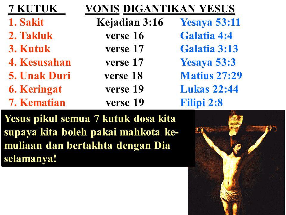7 KUTUK VONIS DIGANTIKAN YESUS 1. Sakit Kejadian 3:16Yesaya 53:11 2. Takluk verse 16Galatia 4:4 3. Kutuk verse 17Galatia 3:13 4. Kesusahan verse 17Yes