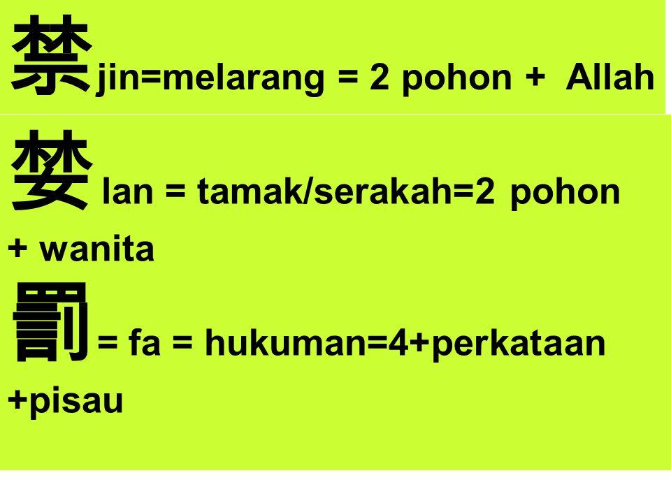 禁 jin=melarang = 2 pohon + Allah 婪 lan = tamak/serakah=2 pohon + wanita 罰 = fa = hukuman=4+perkataan +pisau