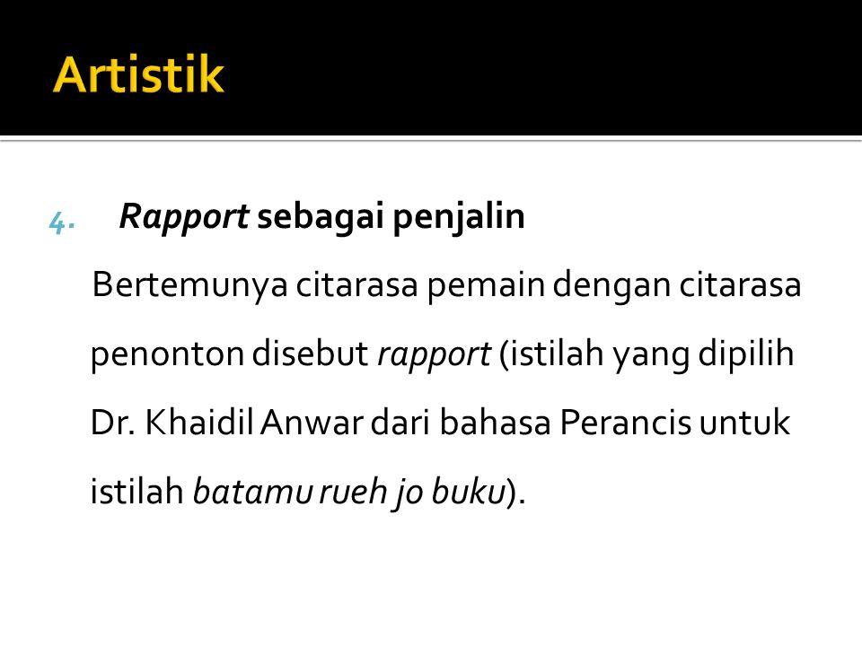 4. Rapport sebagai penjalin Bertemunya citarasa pemain dengan citarasa penonton disebut rapport (istilah yang dipilih Dr. Khaidil Anwar dari bahasa Pe