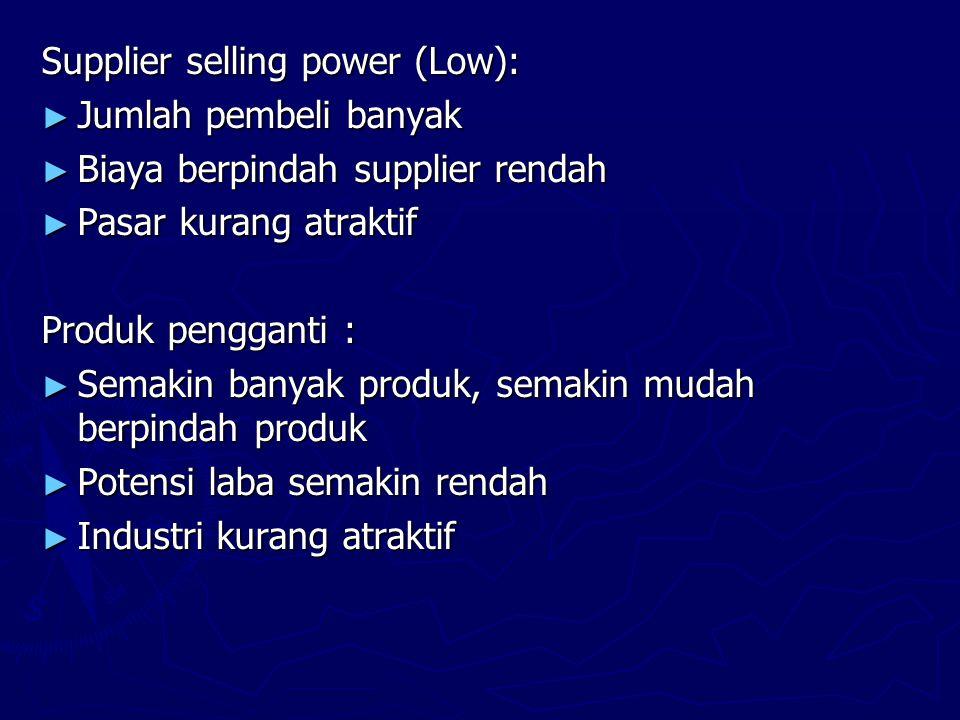 Supplier selling power (Low): ► Jumlah pembeli banyak ► Biaya berpindah supplier rendah ► Pasar kurang atraktif Produk pengganti : ► Semakin banyak produk, semakin mudah berpindah produk ► Potensi laba semakin rendah ► Industri kurang atraktif