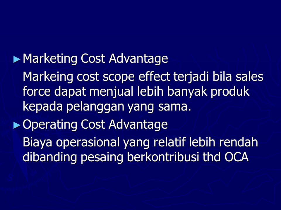 ► Marketing Cost Advantage Markeing cost scope effect terjadi bila sales force dapat menjual lebih banyak produk kepada pelanggan yang sama.