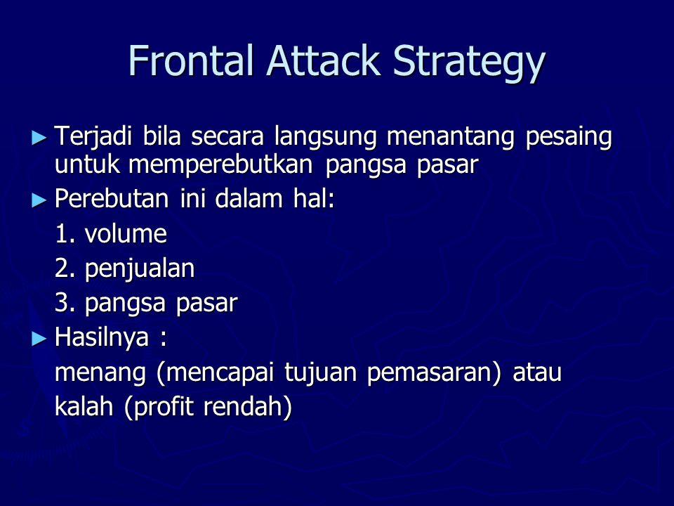 Frontal Attack Strategy ► Terjadi bila secara langsung menantang pesaing untuk memperebutkan pangsa pasar ► Perebutan ini dalam hal: 1.