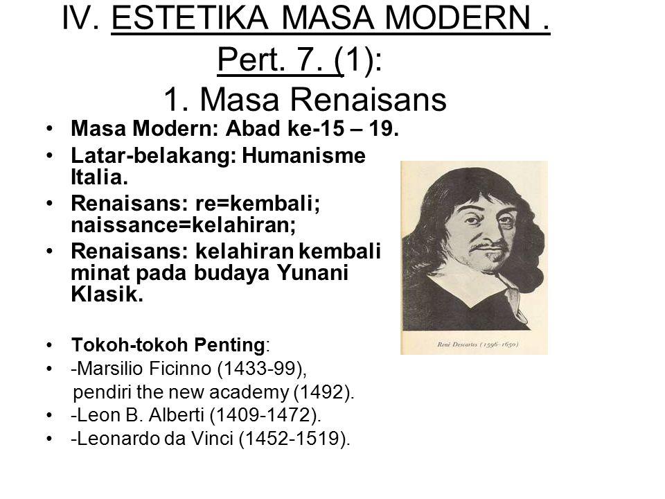 IV. ESTETIKA MASA MODERN. Pert. 7. (1): 1. Masa Renaisans Masa Modern: Abad ke-15 – 19. Latar-belakang: Humanisme Italia. Renaisans: re=kembali; naiss