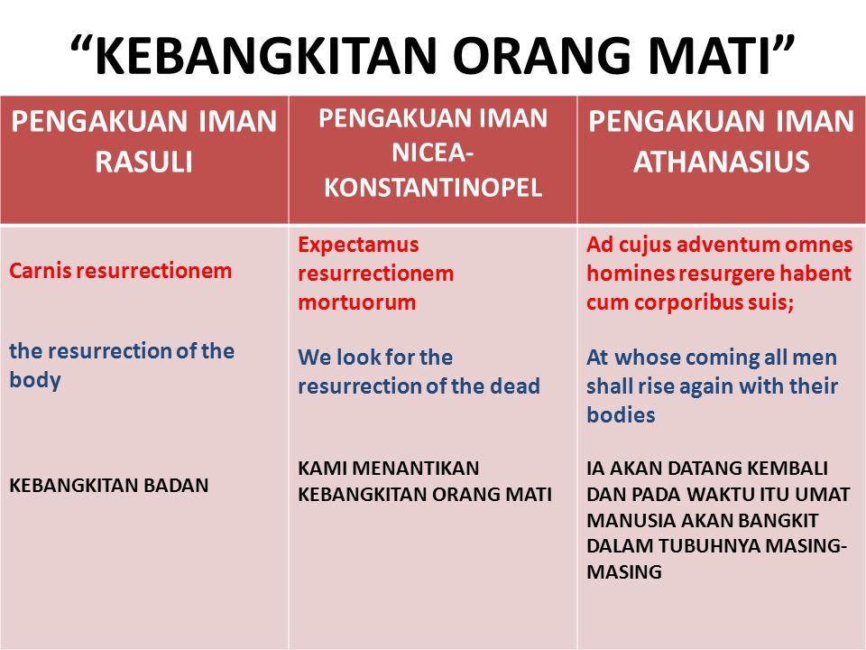 VERSI TERJEMAHAN: GEREJA KATOLIK DAN GKJW Gereja Katolik di Indonesia menerjemahkan dengan kata Kebangkitan Badan. Teks aslinya memakai kata sarkos anastasis (Yunani) atau carnis resurrectionem (Latin).