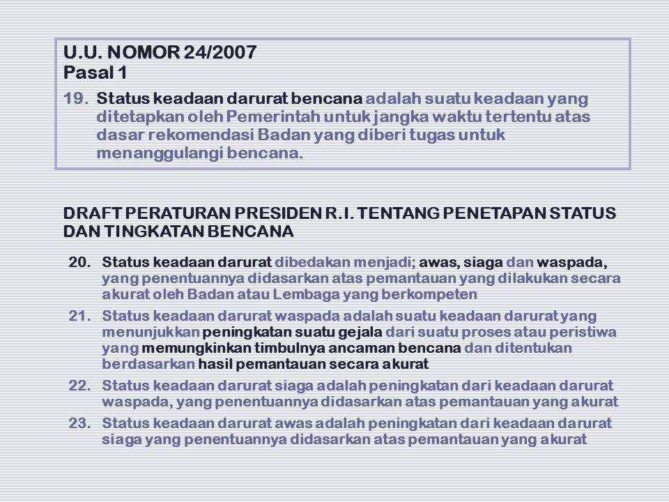 U.U. NOMOR 24/2007 Pasal 1 19. Status keadaan darurat bencana adalah suatu keadaan yang ditetapkan oleh Pemerintah untuk jangka waktu tertentu atas da