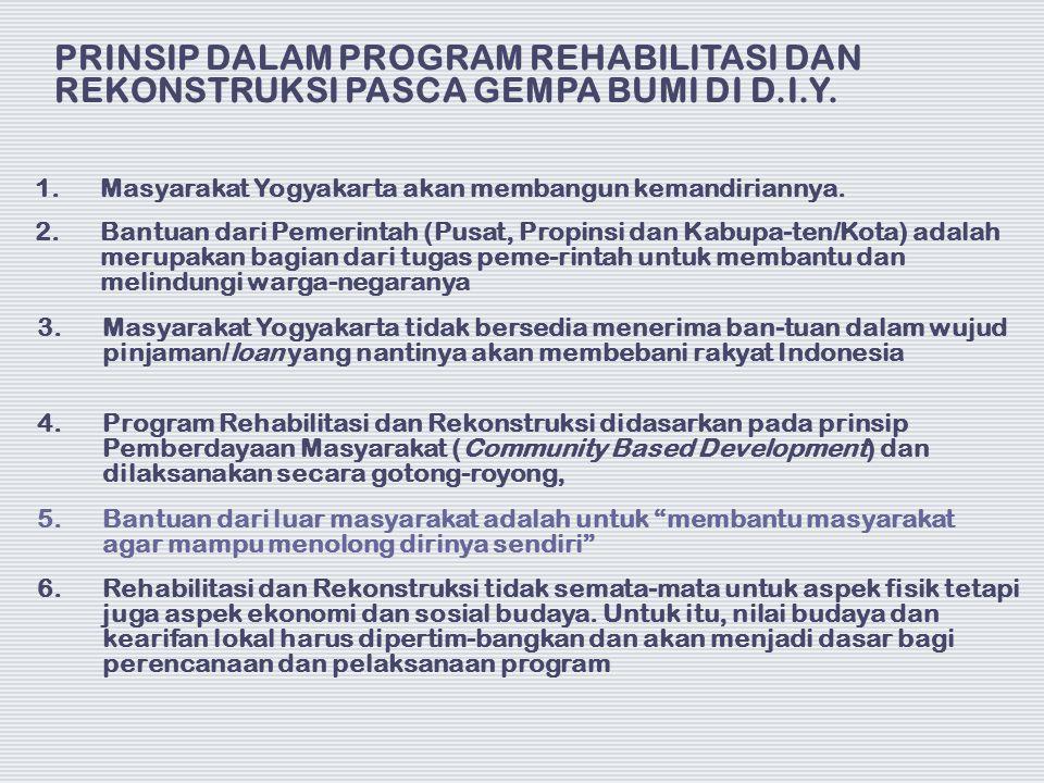 PRINSIP DALAM PROGRAM REHABILITASI DAN REKONSTRUKSI PASCA GEMPA BUMI DI D.I.Y. 1.Masyarakat Yogyakarta akan membangun kemandiriannya. 2.Bantuan dari P