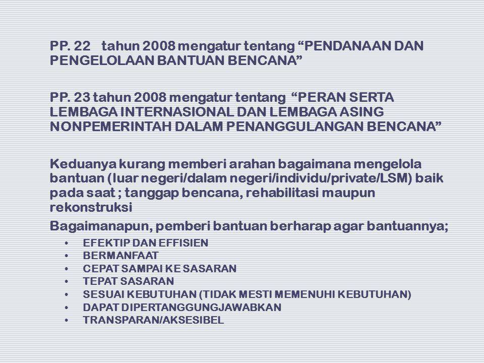 """PP. 22 tahun 2008 mengatur tentang """"PENDANAAN DAN PENGELOLAAN BANTUAN BENCANA"""" PP. 23 tahun 2008 mengatur tentang """"PERAN SERTA LEMBAGA INTERNASIONAL D"""