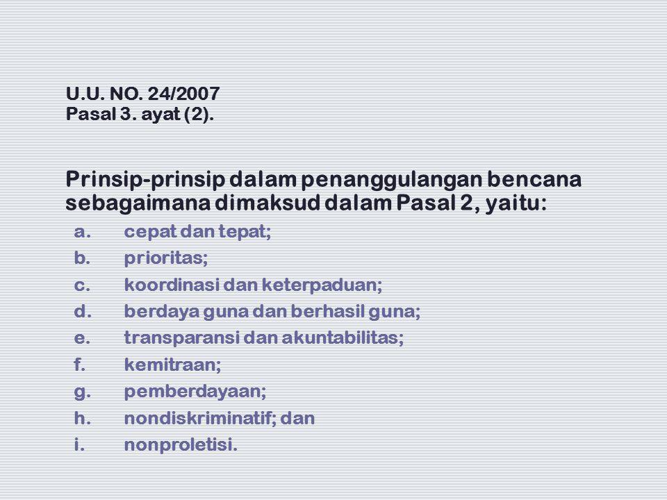 U.U. NO. 24/2007 Pasal 3. ayat (2). Prinsip-prinsip dalam penanggulangan bencana sebagaimana dimaksud dalam Pasal 2, yaitu: a. cepat dan tepat; b. pri