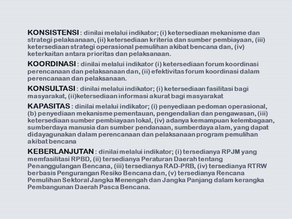 KONSISTENSI : dinilai melalui indikator; (i) ketersediaan mekanisme dan strategi pelaksanaan, (ii) ketersediaan kriteria dan sumber pembiayaan, (iii)